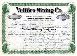Vulture Mining Company (uncancelled)  - Images of vultures - Goldfield, Esmeralda Co., Wonder, Nevada 1907