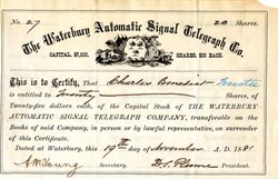 Waterbury Automatic Signal Telegraph Co. - Waterbury, Connecticut 1881
