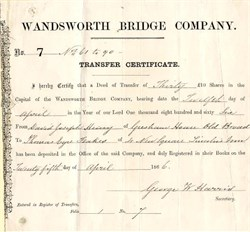 Wandsworth Bridge Company - England 1866