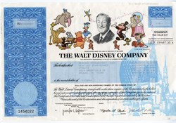 Walt Disney Company Original Stock Certificate - Delaware 1998
