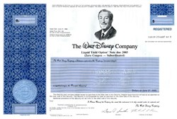Walt Disney Company (Rare Liquid Yield Option Note - Zero Coupon ) - Delaware 1990