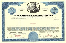 Walt Disney Productions RARE 5% Convertible Debenture 1969 - California