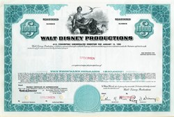 Walt Disney Productions Convertible Debenture (Roy O. Disney as President)  - California, 1968