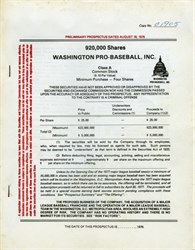 Washington (DC) Pro Baseball, Inc. - Prospectus 1976