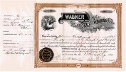 Wagner Electric Manufacturing Company signed by Founder Wagner - St. Louis, Missouri 1894