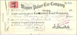 Wagner Palace Car Company Check 1898