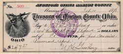Treasurer of Marion County Ohio check signed by U.S. President Warren G. Harding  - Ohio 1898