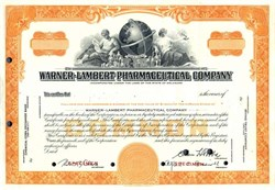 Warner - Lambert Pharmaceutical Company Specimen Stock Certificate - Delaware
