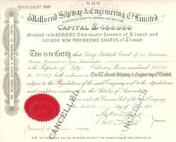 Wallsend Slipway & Engineering Company - 1920 England