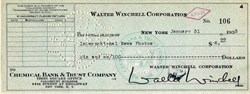 Walter Winchell Signed Check issued to International News Photos  - 1933