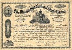 Washington National Bank of Boston - Massachusetts 1890