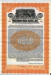 Wardman Park Hotel, Inc. $500 Gold Bond  - Washington DC - District of Columbia 1922