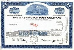 "Washington Post Company RARE IPO Specimen Stock Certificate (Meryl Streep stars as Post publisher Katharine Graham in the movie ""The Post"") - Delaware 1971"