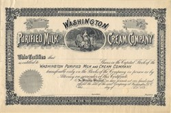 Washington Purified Milk and Cream Company - West Virginia 1890's