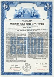 Washington Public Power Supply System Bond ( WPPSS aka Whoops ) Defaulted on $2.25 billion of municipal bonds - Nuclear power plants - RARE Specimen Bond - Washington State 1963