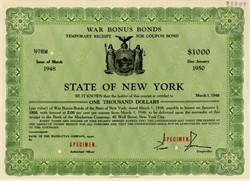 War Bonus Bond State of New York - New York 1948