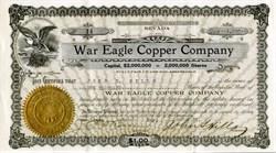 War Eagle Copper Company signed by John S. Hills and Judge J. P. O'Brien (Greenwater) - Nevada 1907