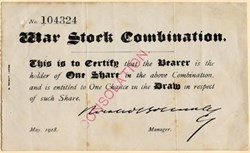 War Stock Combination ( Horatio Bottomley Scam) -  1918