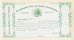 Washington Fire Company Stock Association 1860's