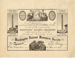 Washington National Monument Society 1849