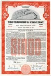 Washington State Power Utility District No. 1 Revenue $1000 Bond (Dam Vignette) - Chelan County 1958