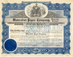Watervliet Paper Company Stock 1920's - Blue - Michigan