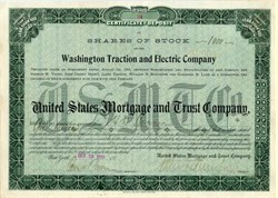 Washington Traction and Electric Company ( Certificate of Deposit of Shares of Stock)  - 1901