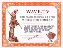 WAVE-TV - Pioneer Award Certificate for Kentucky and Indiana