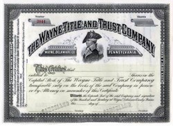 "Wayne Title and Trust Company - General ""Mad Anthony"" Wayne Vignette 1890's"