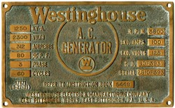 Original Westinghouse Electric & Manufacturing Company Brass A.C. Generator Plaque dated 03-27-1931