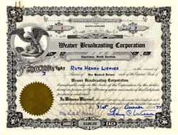Weaver Broadcasting Corporation ( WOKE Radio Station now is WQSC ) signed by Harry Weaver- South Carolina 1977