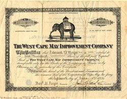 RARE West Cape May Improvement Company with vignette of the Light of Asia (Jumbo the Elephant) - New Jersey 1884