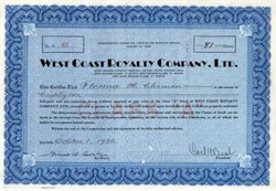 West Coast Royalty Company, Ltd.- Nevada 1932