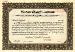 Western Electric Company  Specimen Employee Benefit Certificate