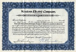Western Electric Company Employee Benefit Certificate - 1933