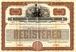 Westinghouse Electric & Manufacturing Company Gold Bond - New York 1920