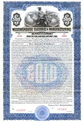 Westinghouse Electric & Manufacturing Company $500 Gold Bond  - Pennsylvania 1920