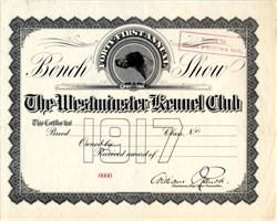 Westminster Kennel Club (Dog Vignette) Certificate is 101 Years Old - 1917