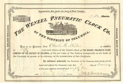 Wenzel Pneumatic Clock Company of the District of Columbia - 1882