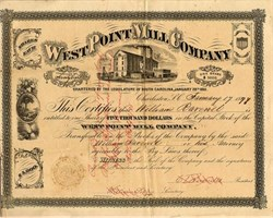 West Point Mill Company - South Carolina 1880