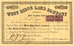 West Ridge Land Company signed by H.M. Abbett (Abbett Inn)  - Atlanta, Georgia 1899