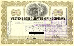 West End Consolidated Mining Company -  Stock Certificate - Tonopah, Nevada 1927
