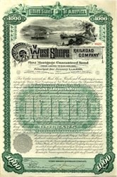 West Shore RR Co 475 Year Early Junk Bond 1885 signed by Chauncey DePew