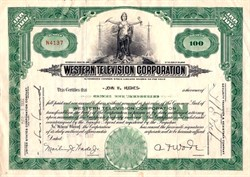 Western Television Corporation (Early TV Stock Certificate)  - Delaware 1932
