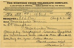 Western Union Telegraph Company Telegram  - 1890's