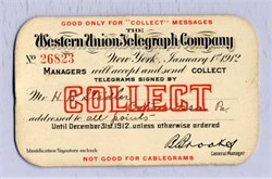 Western Union Telegraph Company Identification Card for Collect Telegrams - 1912
