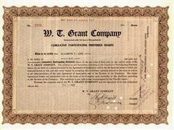 W.T. Grant Company Department Store Cumulative Participation Preferred Shares handsigned by Founder, William Thomas Grant - Massachusetts 1922