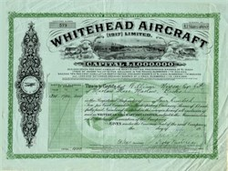 Whitehead Aircraft, Ltd. signed by John Whitehead - England 1917
