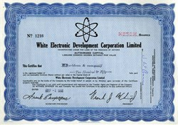White Electronic Development Corporation Limited -  Ontario, Canada - 1968