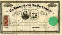 Whitney Sewing Machine Company - Paterson, New Jersey 1871